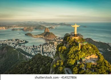 RIO DE JANEIRO, BRAZIL - CIRCA FEBRUARY 2016: Aerial view of Christ The Reedemer, Botafogo Bay and Sugar Loaf Mountain.