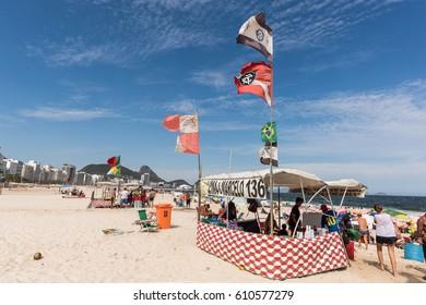 RIO DE JANEIRO, BRAZIL - CIRCA 2016: A little store at Copacabana beach circa 2016 in Rio de Janeiro.