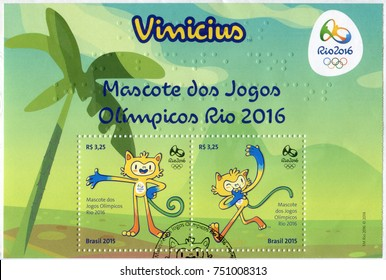 RIO DE JANEIRO, BRAZIL - CIRCA 2015: Two postage stamps printed in Brazil showing images of Vinicius mascots. Devoted to the Rio 2016 Summer Olympics, circa 2015.