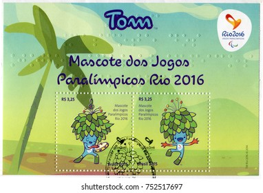 RIO DE JANEIRO, BRAZIL - CIRCA 2015: Two postage stamps printed in Brazil showing images of Tom mascots. Souvenir sheet devoted to the Rio 2016 Summer Olympics, circa 2015.