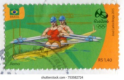 RIO DE JANEIRO, BRAZIL - CIRCA 2015: A postage stamp printed in Brazil showing two rowing players. Devoted to the Rio 2016 Summer Olympics, circa 2015.