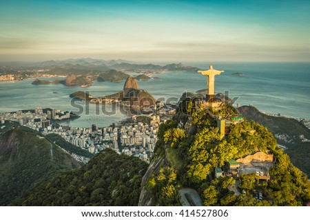 RIO DE JANEIRO, BRAZIL - CIRCA FEBRUARY 2016: Aerial view of Christ The Reedemer, Botafogo Bay and Sugar Loaf Mountain.