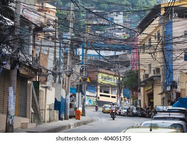 RIO DE JANEIRO, BRAZIL - DEC 29, 2013: Rocinha is the largest favela in Brazi. About 80000 people live in Rocinha, making it the most populous favela in Rio de Janeiro.