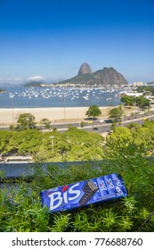 Rio de Janeiro, Brazil - Dec 17, 2017: Illustrative editorial of Bis, a Brazilian waffle chocolate, here overlooking the iconic Sugar Loaf mountain in Rio de Janeiro, Brazil
