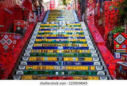 Rio de Janeiro, Brazil - December 21, 2017: Colorful Escadaria Selaron in Rio de Janeiro, Brazil