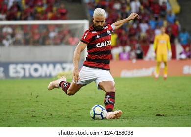 Rio de Janeiro, Brazil, December 1, 2018 Football player Diego of the Flamengo team during the game Flamengo X Atlético-PR for the Brazilian championship at the Maracanã stadium.