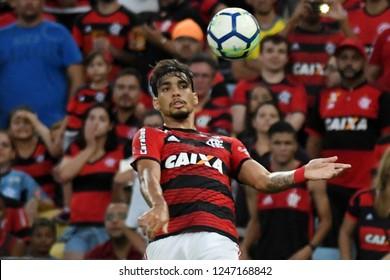 Rio de Janeiro, Brazil, December 1, 2018 Football player Lucas Paquetá of the Flamengo team during the game Flamengo X Atlético-PR for the Brazilian championship in the Maracanã stadium.