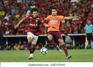 Rio de Janeiro, Brazil, December 1, 2018 Football player Willian Arão of the Flamengo team during the game Flamengo X Atlético-PR for the Brazilian championship at the Maracanã stadium.