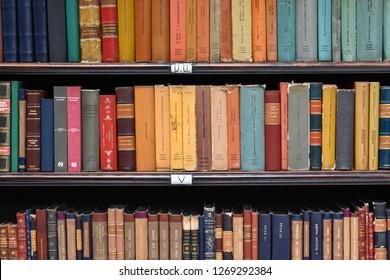 Rio de Janeiro / Brazil - December 28 2018: The beauty of the famous library Royal Portuguese Gabinet of Literature (Gabinete Real Portugues de Literatura) at downtown Rio de Janeiro, Brazil.
