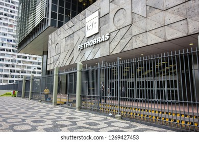 Rio de Janeiro, Brazil, December 28, 2018: View of the building Petrobras headquarters, largest Brazilian company. In 2019 the company will have new president, the economist Roberto Castello Branco.