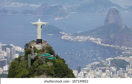 RIO DE JANEIRO, BRAZIL - DECEMBER 28, 2013: Aerial view of Christ Redeemer and Corcovado Mountain