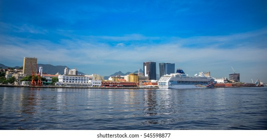 RIO DE JANEIRO, BRAZIL - DECEMBER 28, 2016: View of the transatlantic cruise liner standing in the port of Rio de Janeiro located in a cove on the west shore of Guanabara Bay at sunny day