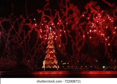 Rio de Janeiro, Brazil, December 12, 2015: Christmas tree of Rodrigo de Freitas Lagoon in Rio de Janeiro is one of the largest in the world and has millions of microlights.