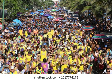 Rio de Janeiro, Brazil, February 03, 2018: Thousands of people flock to the streets of Ipanema to have funa at the street carnival, foloowing the carnival block Sympathy is almost love.