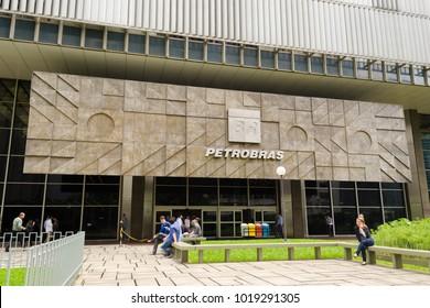 Rio de Janeiro, Brazil - February 06 2018 - The headquarters building of Brazil giant oil company Petrobras (Portuguese: Fachada do prédio sede da gigante brasileira de petróleo Petrobras).