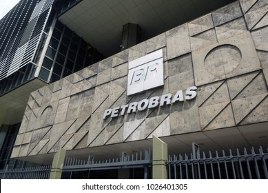 Rio de Janeiro, Brazil - February 15th 2018: Logo at the main entrance of the Petrobras oil company in downtown. The state-owned companyn has been embroiled in corruption scandals in recent years.