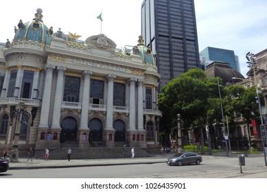 Rio de Janeiro, Brazil - February 15th 2018: Facade of the Municipal Theater of Rio de Janeiro located in Cinelândia and on the side the National Museum of Fine Arts.