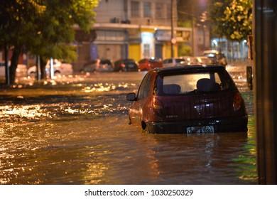 Rio de Janeiro, Brazil - february 15, 2018:  The region of Maracana neighborhood where the Rio Joana passes, was flooded with heavy rains.