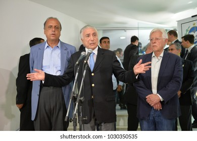 Rio de Janeiro, Brazil - february 21, 2018: Working meeting on security in the state, with the presence of the president of Brazil Michel Temer