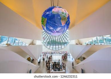 Rio de Janeiro, Brazil - February, 27, 2016 - Beautiful interior view of Museum of Tomorrow (Museu do Amanha) a creation of the famous Spanish architect Santiago Calatrava