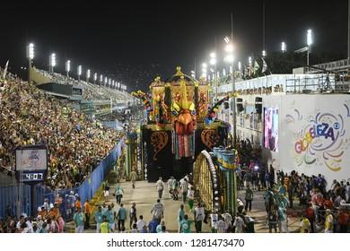 Rio de Janeiro, Brazil, February 11, 2018. Allegorical car breaks in the entrance of the parade of the Samba School during the Carnival of Rio de Janeiro in the Sambódromo,