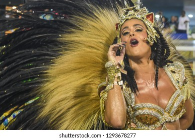 RIO DE JANEIRO, Brazil - february 13, 2018: Samba school parade Imperatriz Leopoldinense during the 2018 carnival in Rio de Janeiro, the Sambodromo.