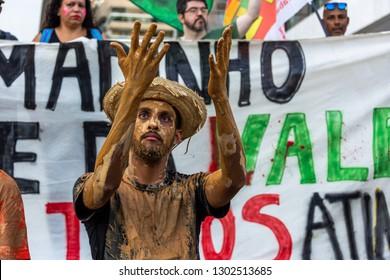 Rio de Janeiro, Brazil, February 1, 2019. Protest against the  dam burst in the city of Brumadinho, Minas Gerais. It was an environmental crime by Vale do Rio Doce, mining company.