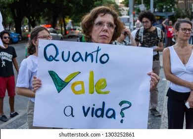 Rio de Janeiro, Brazil, February 1, 2019. Protest against the  dam burst in the city of Brumadinho, Minas Gerais. It was an environmental crime by Vale do Rio Doce, mining company.