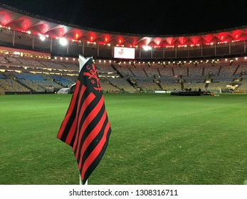 Rio de Janeiro - Brazil, February 9, 2019, flags and shields of the Flamengo Regatta Club, scattered throughout the city of Rio de Janeiro after the fire at its training center.