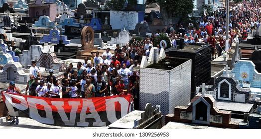 Rio de Janeiro, Brazil   february 10th, 2019  Relatives of Flamengo junior soccer player Christian Esmerio  at Iraja cementery. Christian dead victim of a fire in the Training Center
