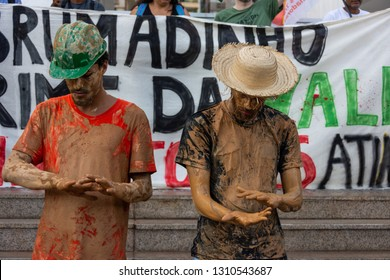 Rio de Janeiro, Brazil, February 1, 2019. Protest against the dam burst in the city of Brumadinho, Minas Gerais. It was an environmental crime committed by Vale do Rio Doce, mining company.
