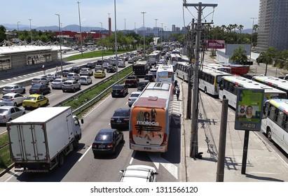 Rio de Janeiro, Brazil, February 12, 2019. Heavy traffic in Ayrton Senna Avenue in Barra da Tijuca neighborhood in the western part of the city of Rio de Janeiro.