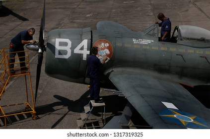 Rio de Janeiro, Brazil  February, 12th, 2019 Engineers works on a P-47 war plane at the Rio de Janeiro´s AeroSpace Museun to recuperate and restart their engine.