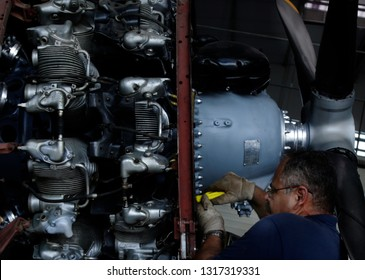Rio de Janeiro, Brazil  February, 12th, 2019    a engineer works on a P-47 war plane radial engine at the Rio de Janeiro´s AeroSpace Museun to recuperate and restart their engine.