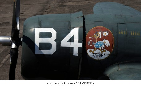 Rio de Janeiro, Brazil  February, 12th, 2019 detail of a P-47  war plane body at the Rio de Janeiro´s AeroSpace Museun.The painted sign is the symbol  of the Brazil´s squad   on the WW2 in Italy