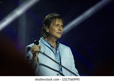 RIO DE JANEIRO, BRAZIL, february 17, 2019: Singer Roberto Carlos on stage during his tour on the ship