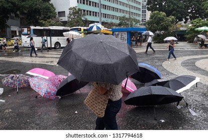 Rio de Janeiro, Brazil, February 18, 2019. Rainy day in Largo da Carioca in downtown Rio de Janeiro.