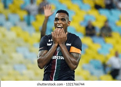 Rio de Janeiro, Brazil, February 22, 2019. Fluminense Digão football player celebrates his goal during the Bangu vs. Fluminense game for the Rio de Janeiro championship at the Maracanã stadium.