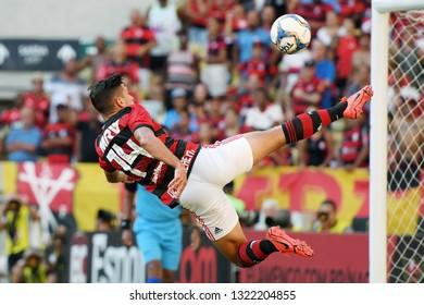Rio de Janeiro, Brazil, February 24, 2019. Football player De Arrascaeta, during the game Flamengo vs. Americano by the Carioca championship in the Maracanã stadium.