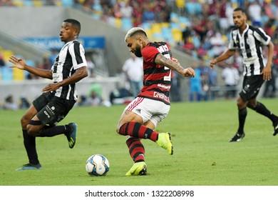 Rio de Janeiro, Brazil, February 24, 2019. Soccer player Gabriel Gabigol, kicks to score the goal, during the Flamengo vs. Americano game for the Rio de Janeiro championship at the Maracanã stadium.