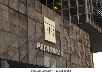 Rio de Janeiro, Brazil - February 25, 2019: Petrobras Headquarters Building in downtown Rio de Janeiro. Petrobras is oil and gas industry giant in Brazil.