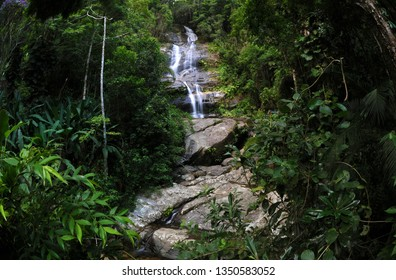 Rio de Janeiro, Brazil, February 9, 2019. Cascatinha Taunay waterfall, located inside the National Park of Tijuca in the city of Rio de Janeiro.