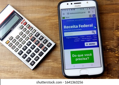 Rio de Janeiro, Brazil - February 9, 2020: Logo of the Receita Federal do Brasil on the Smartphone screen. Agency responsible for the collection and inspection of income tax in Brazil.