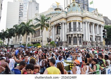 RIO DE JANEIRO, BRAZIL - FEBRUARY 14, 2015: Revellers in costumes take over the streets in one of Rio's largest carnival street bands.