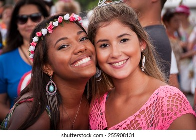 RIO DE JANEIRO, BRAZIL - FEBRUARY 16, 2015: Brazilians celebrate street block carnival in various costumes.