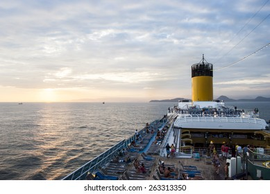 RIO DE JANEIRO, BRAZIL - FEBRUARY 10: Costa Concordia on February, 2009 in Rio de Janeiro Coast, Brazil. The ship ran aground on January 13, 2012 in Italy, causing at least 3 passenger deaths