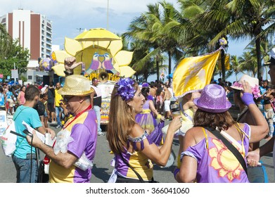 RIO DE JANEIRO, BRAZIL - FEBRUARY 07, 2015: Brazilians take part in carnival street party on Ipanema Beach.