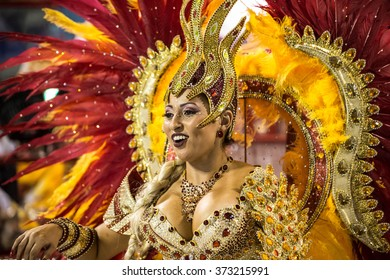 RIO DE JANEIRO, Brazil - february 06, 2016: samba school parade Uniao do Parque Curicica during the 2016 carnival in Rio de Janeiro, the Sambodromo. Dancer performs an evolution