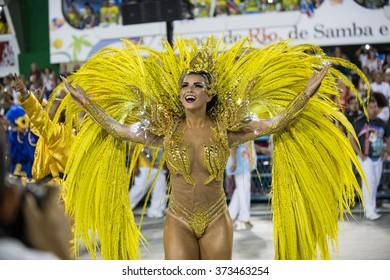 RIO DE JANEIRO, Brazil - february 07, 2016: samba school parade Uniao da Ilha during the 2016 carnival in Rio de Janeiro, the Sambodromo.