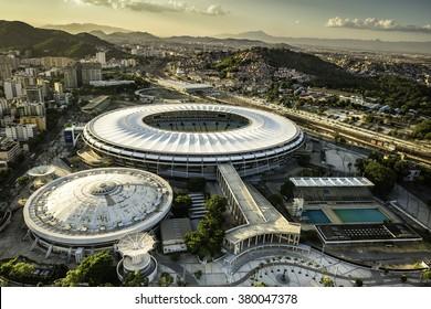 RIO DE JANEIRO, BRAZIL - FEBRUARY  2016: Aerial photo of Maracana Stadium with panorama of Rio De Janeiro. Opening and closing of 2016 Olympic Games will be held at Maracana Stadium.